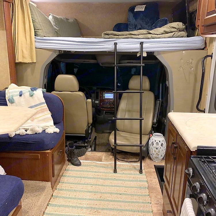 full top bunk, swiveling chairs