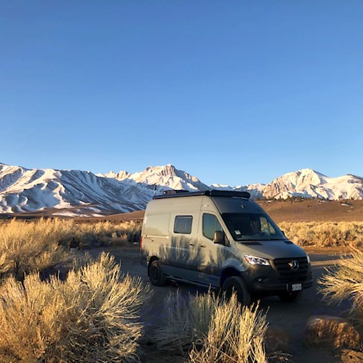 Winter camping by hot springs in the Sierras
