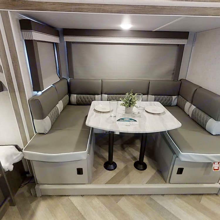 Nice big dinette that converts into a very comfy bed easily big enough for two adults.