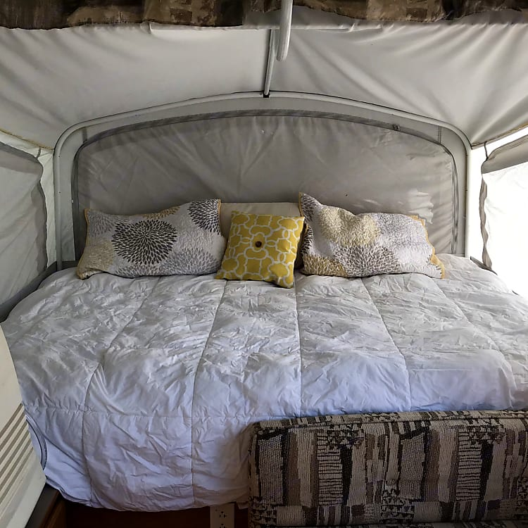Full size bed, sleeps 2 adults or two kids. Lin