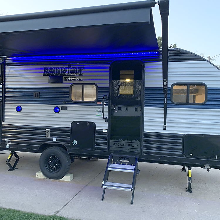 Nice big awning that is controlled from a smart phone or from inside the camper.  Lights under the awning are great after the sun goes down.