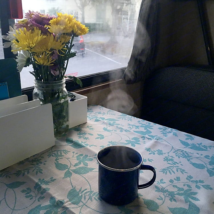 Thank goodness for coffee.  Trudy comes equipped with a percolator-style espresso maker for your caffeine convenience!