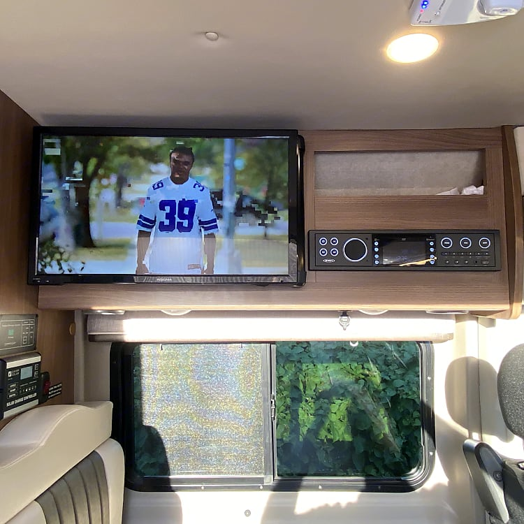 Enjoy stereo music inside and out, broadcast TV, DVD, CDs, premium sound throughout.