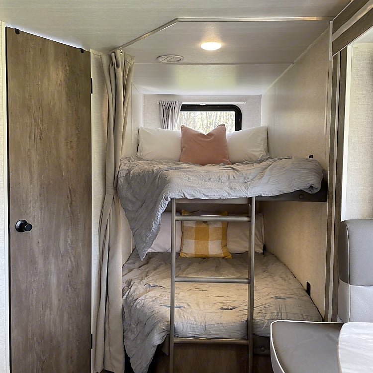 These almost full-sized bunks are fun for kids and adults to cozy up on.