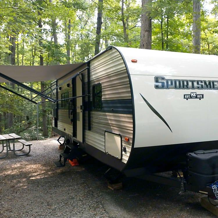 Initiating camper setup at Pocahontas State Park