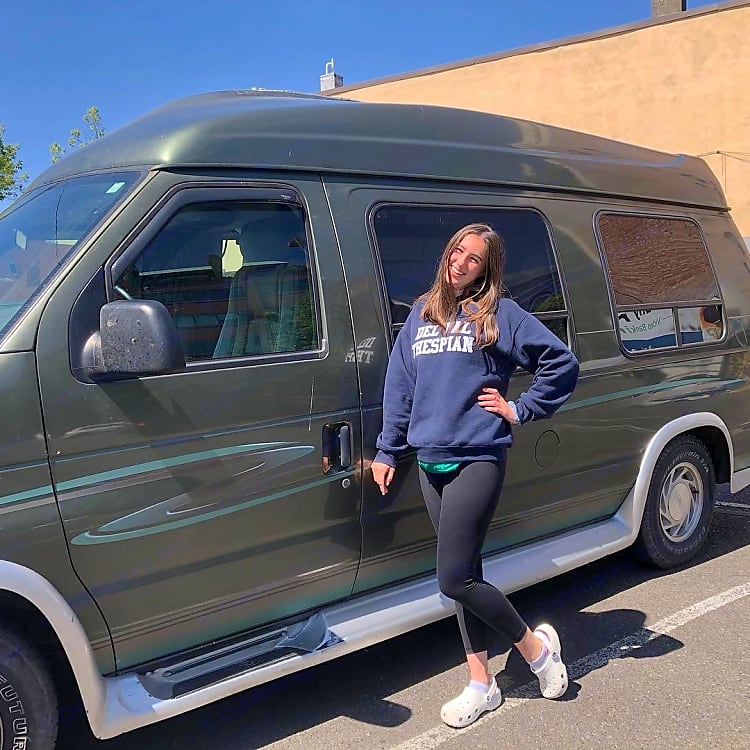 48 state traveler and her trusty van Albert that could soon be yours-photo taken in Portland, Oregon :)
