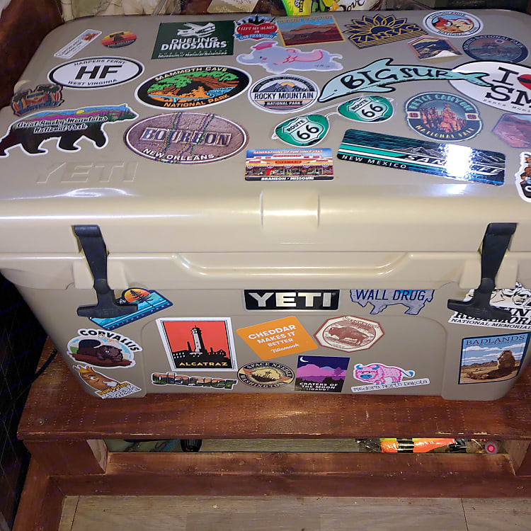 The infamous Yeti cooler-complete with tons of travel stickers