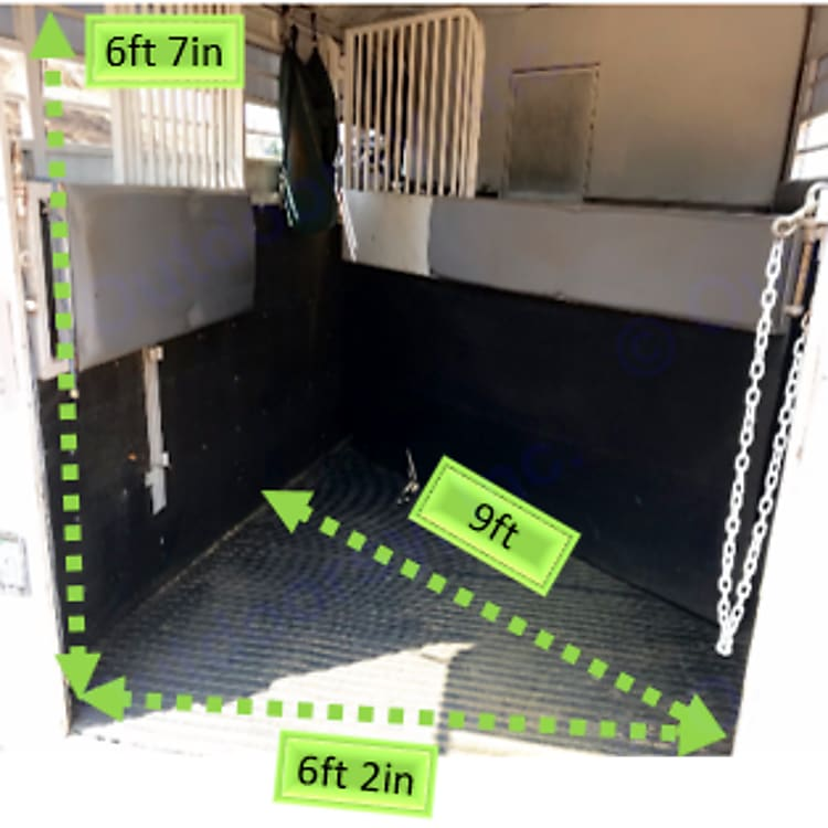 Offers 2 padded stall dividers (removable), rubber up walls, rubber mats, and a rear chain.