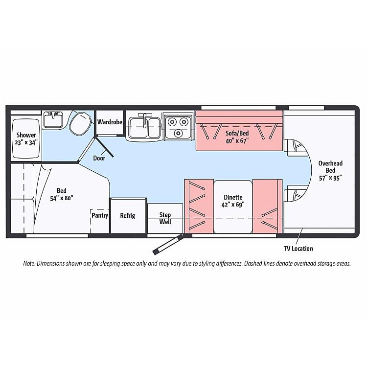 Floor plan of our Itasca Spirit 25b has 7 seat belts