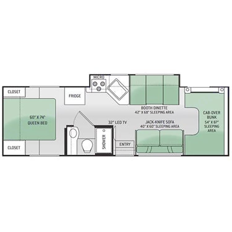 Sleeps 6 (2 in queen, 2 over cab, 1 in dinette, 1 on couch). 7 seat belts (2 front, 2 dinette, 3 couch)