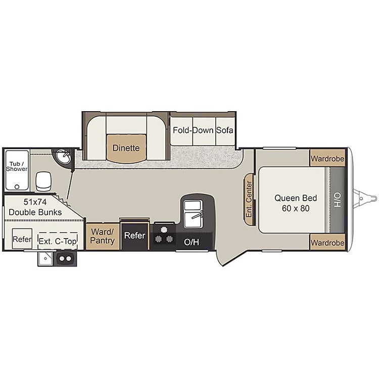 1 private bedroom with queen bed. 1 full size bunk room with curtain 1 full size pull out bed outdoor kitchen plenty of storage