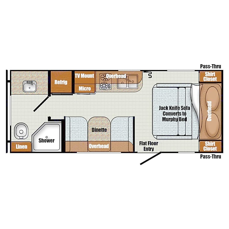 Dixie's floorplan showing all her features.