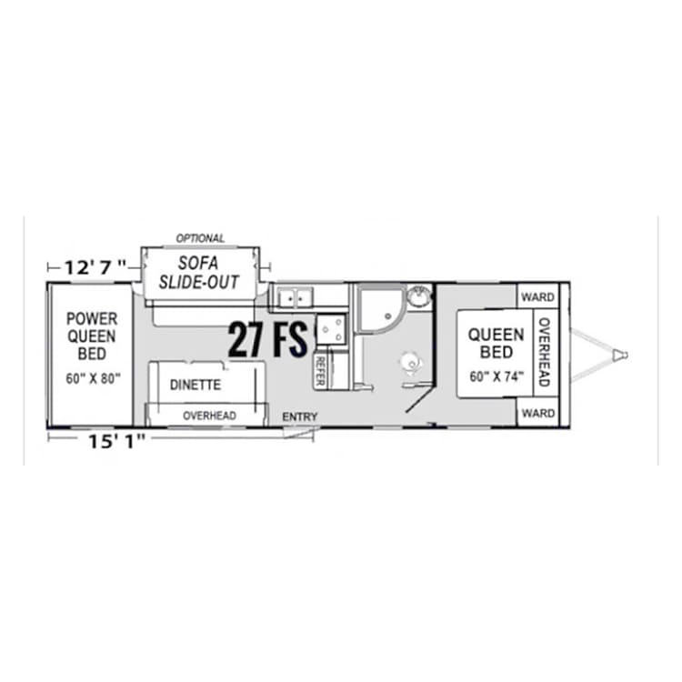 Spacious floor plan with 15' garage. Rear bunks are powered and store up out of way