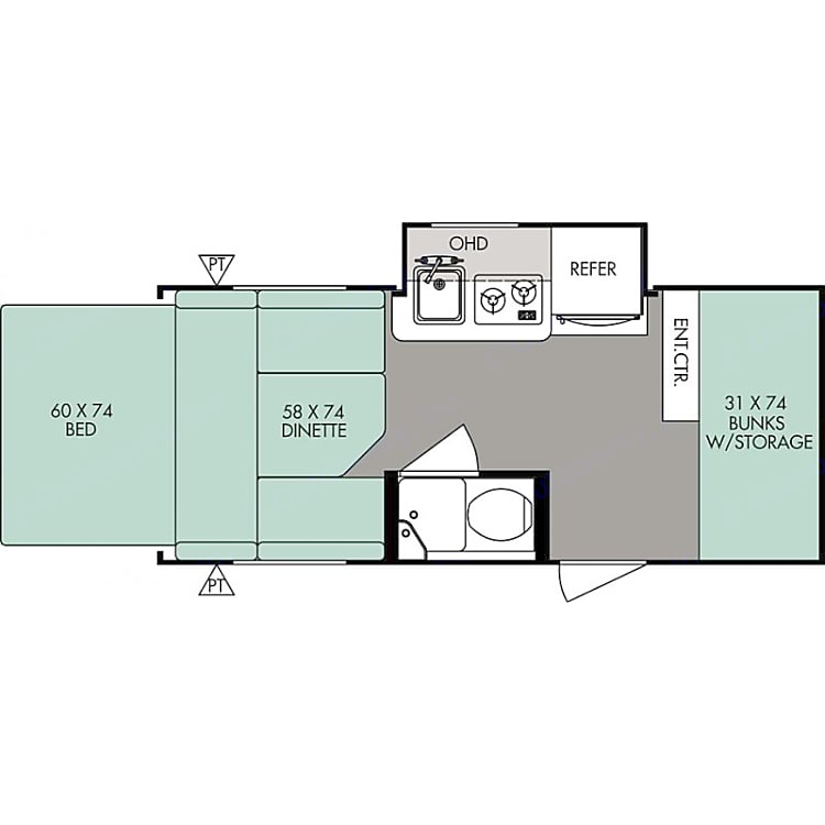 This is the floor plan of our trailer. It is worth noting that the main bed folds out the back side of the trailer in a tent.