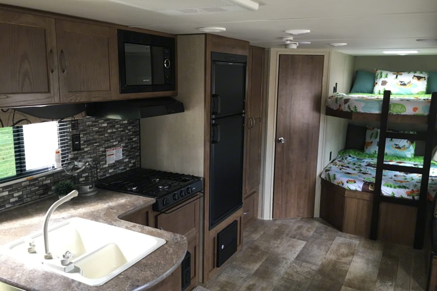 Bunks beds are great and the kitchen has everything you need!
