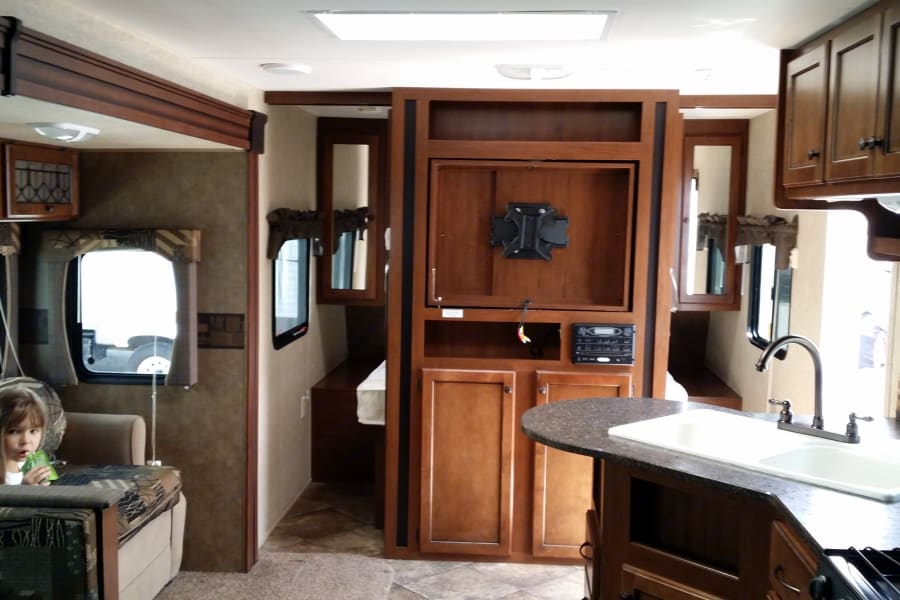 Tv is included with the trailer rental. Kids can bring their Playstation or Xbox in case it rains.