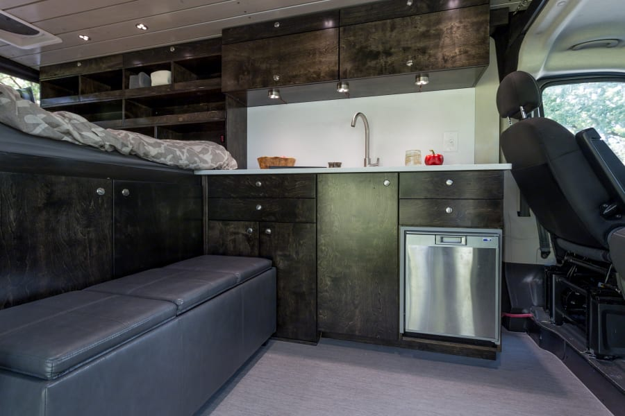 storage ottoman/ bench and custom cabinetry