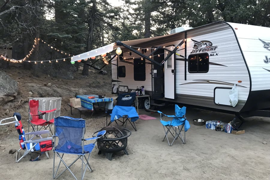 Idyllwild Campground in California with lots of friends and fun weekend! Hiked and had 3 dogs with us!
