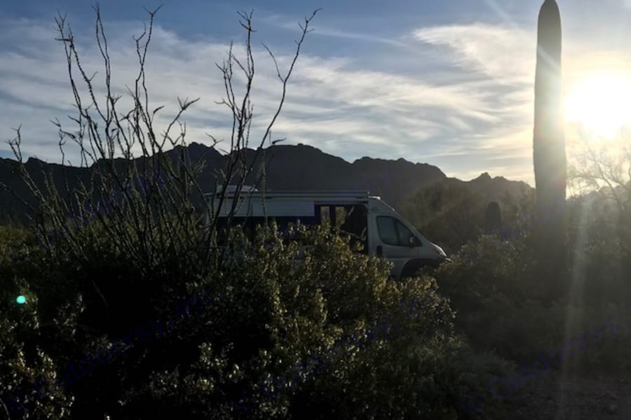 Sunset in Saguaro National Park. Gilbert Ray Campground.