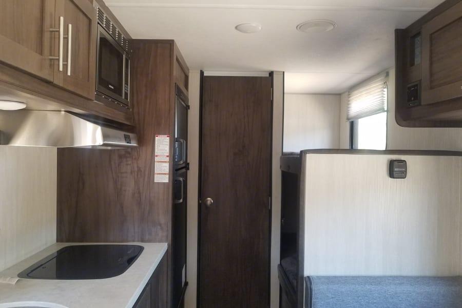 Kitchen, bathroom, and bunkbeds