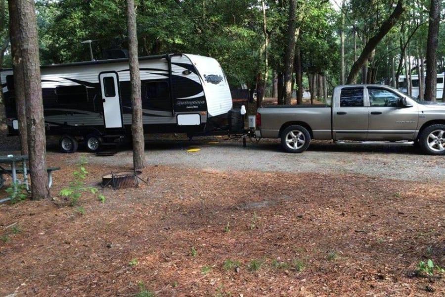 """Shake down cruise"" to Fort Story.  Nice camp ground."