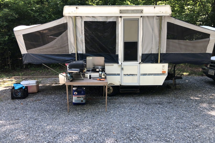 gas hook up. water and electric on the back side of camper.