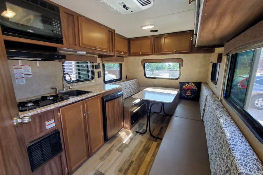 Surprisingly open floorplan. Every space is being used for something in this trailer.