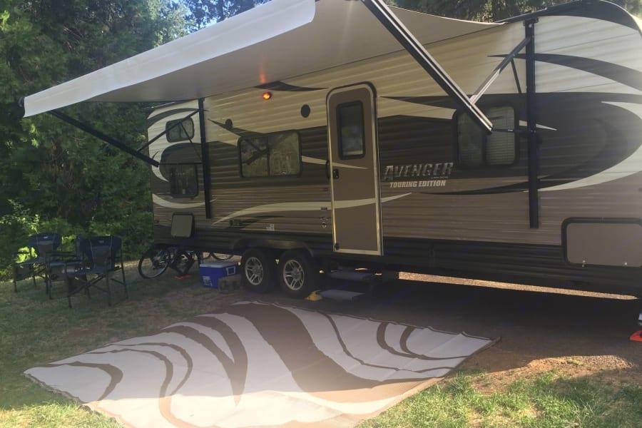 Camping mat and awning