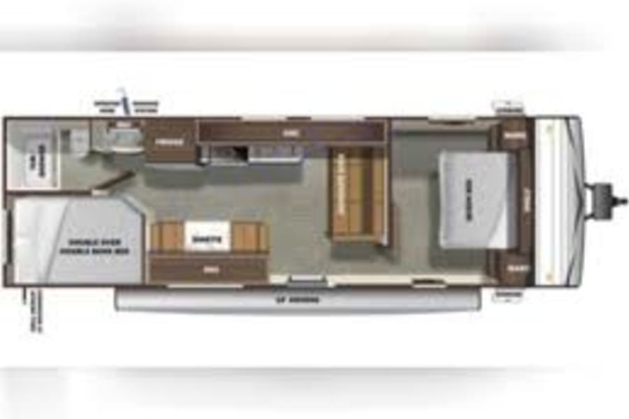 This shows the floorplan of this camper