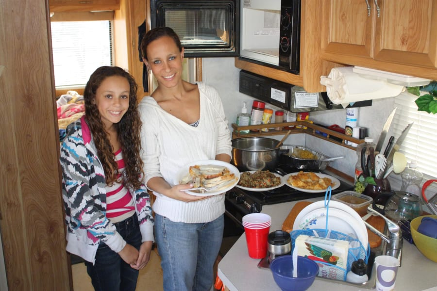 We made an entire Thanksgiving Dinner in the RV, and it was delicious!