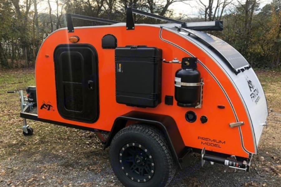 Pepper features a roof rack and exterior shower with  propane-powered hot water