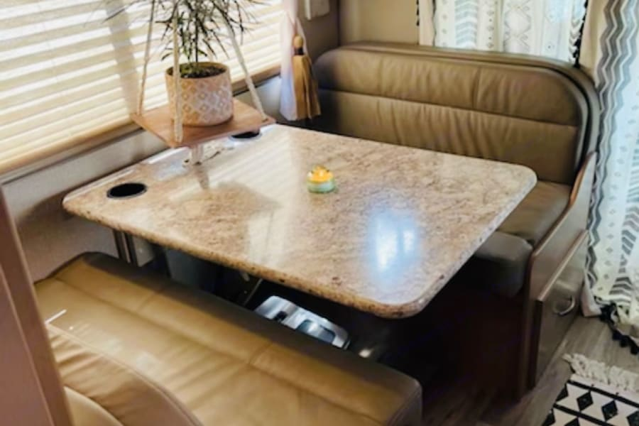 Leather Dining Booth w/ 2nd Bed Option.  Easy Peasy Conversion!