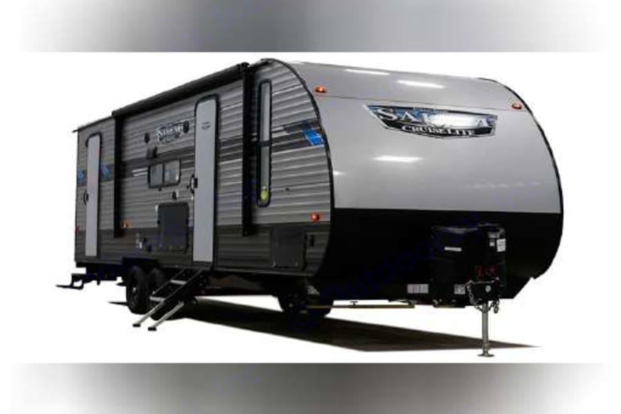 Exterior of trailer showing both doors.