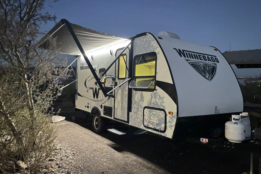 Equipped with an electric awning and outdoor lights