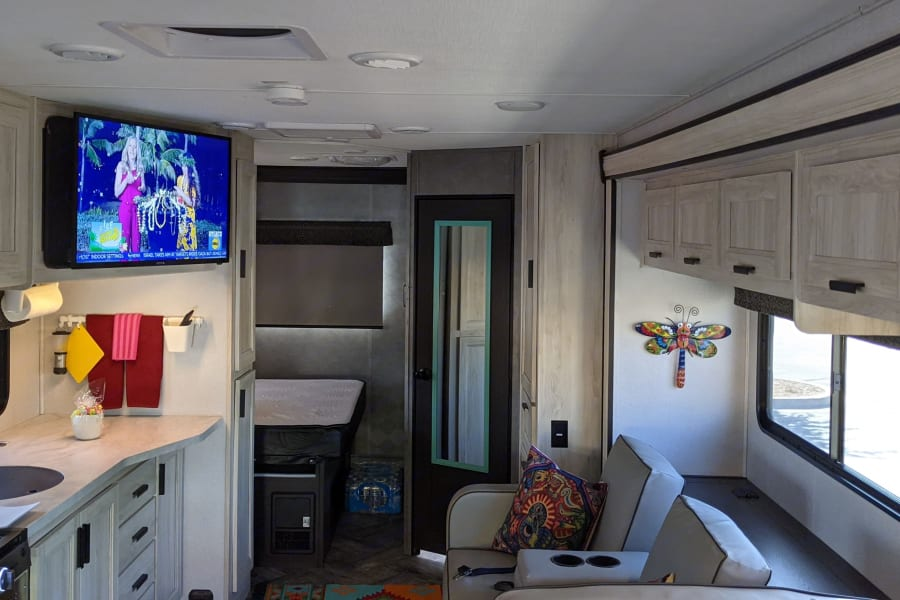 This photo shows the kitchen and living area at full width with the slides extended.