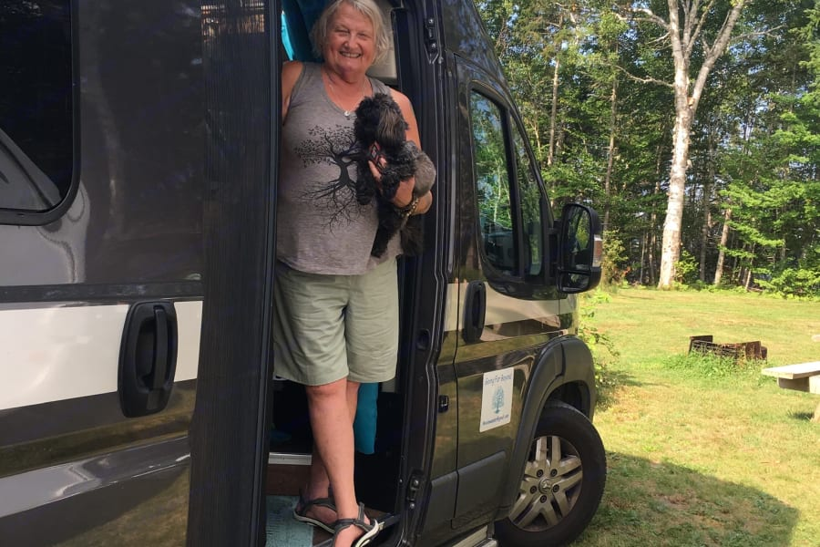 My little dog Bugsy and I welcome you to our camping trip