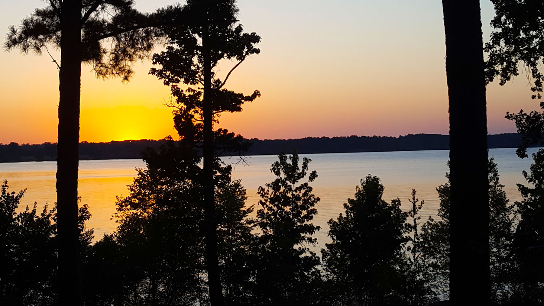View from the Airstream at Lake of the Pines, 4th of July.. Airstream Flying Cloud 2014