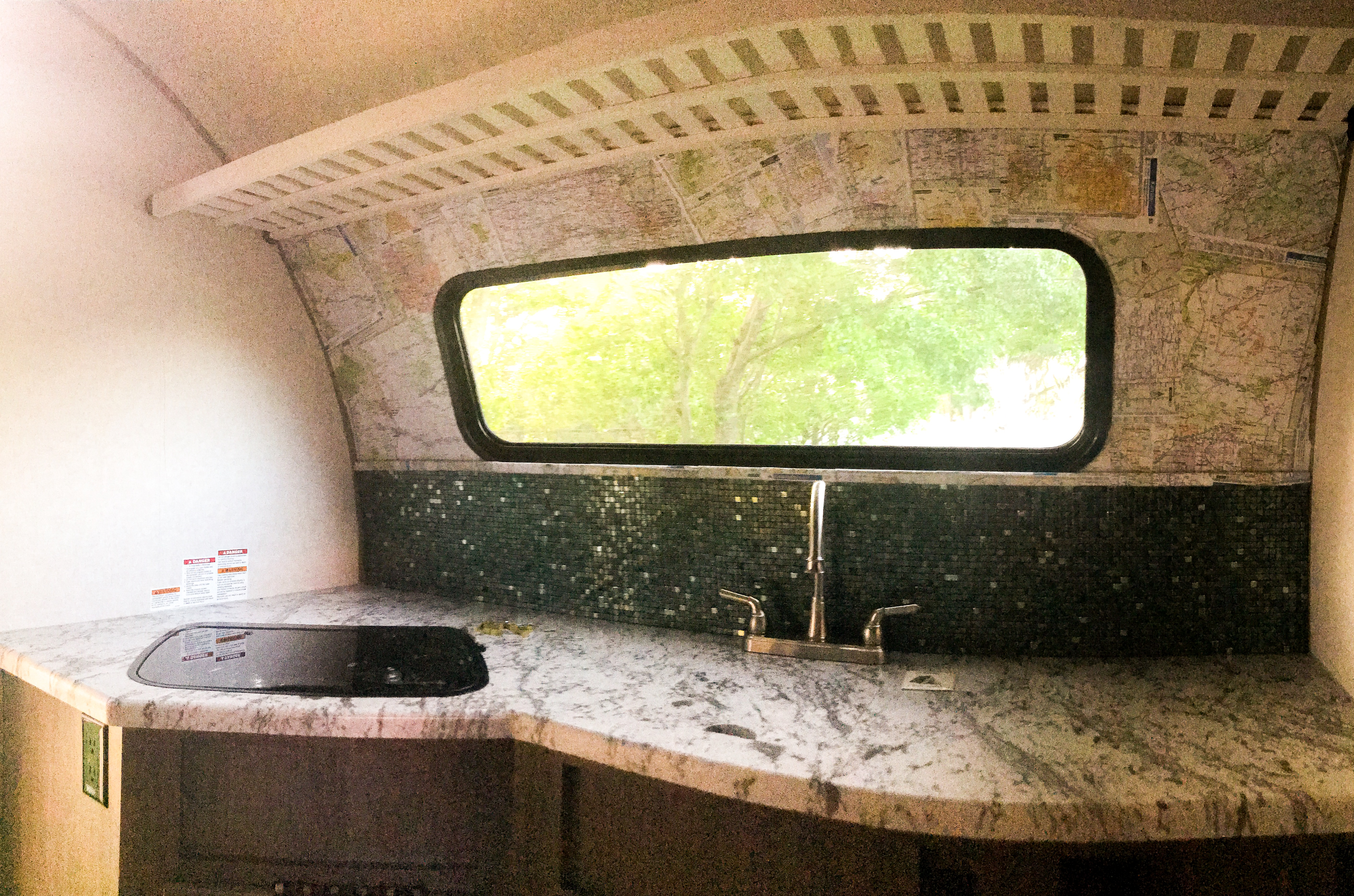 Closer look at the kitchen. -Actual travel trailer setup!