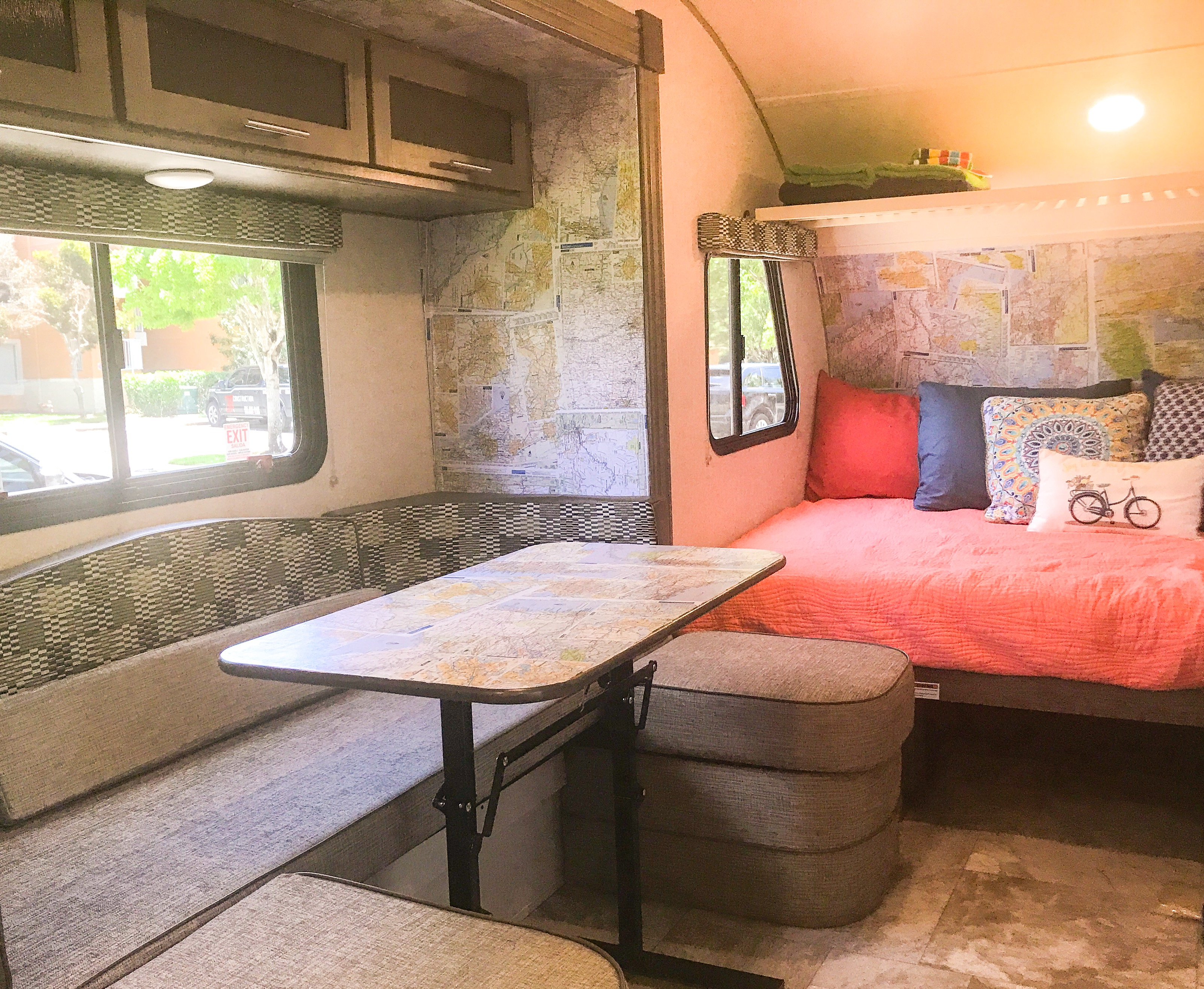 Get ideas for where to go next by just looking at the walls and plan your adventure!!  Queen sized bed in master