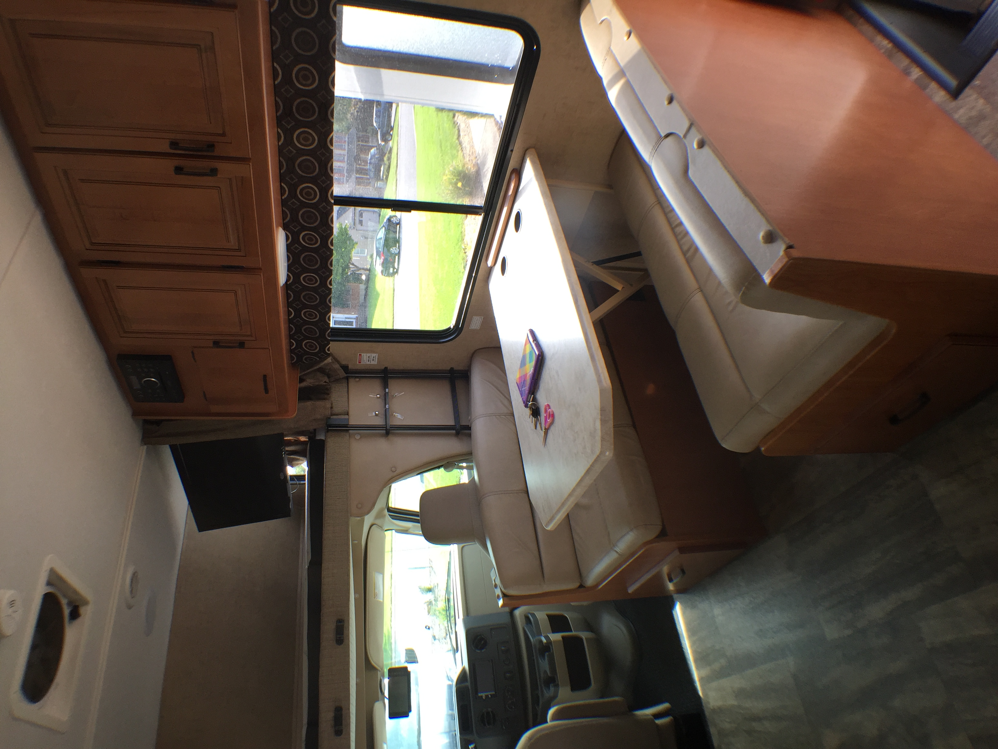 Kitchen table area.  Also converts to a full size bed and has seatbelts for four.. Forest River Sunseeker 2017
