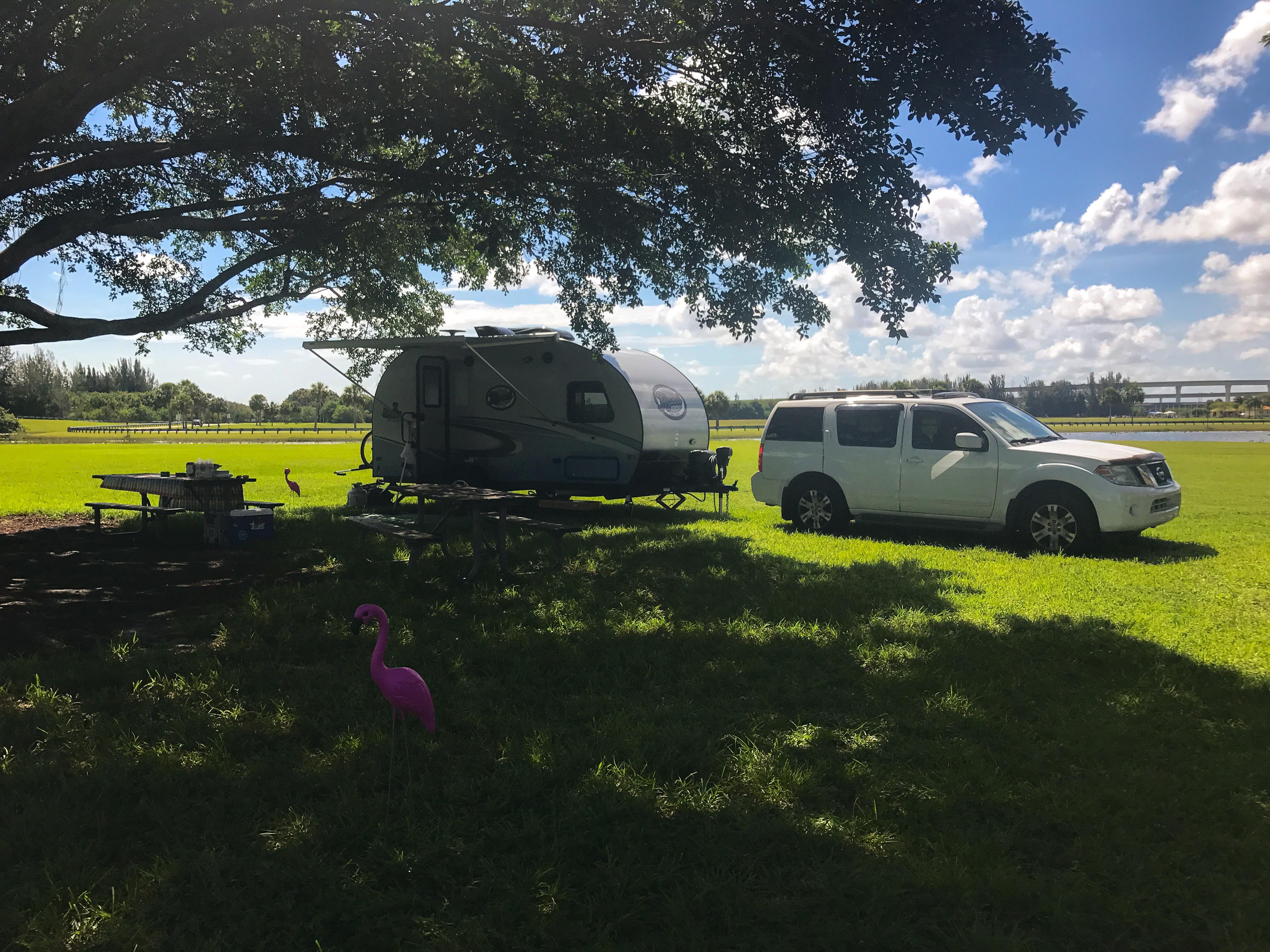 Markham Park is an excellent campsite!! -Actual travel trailer setup!