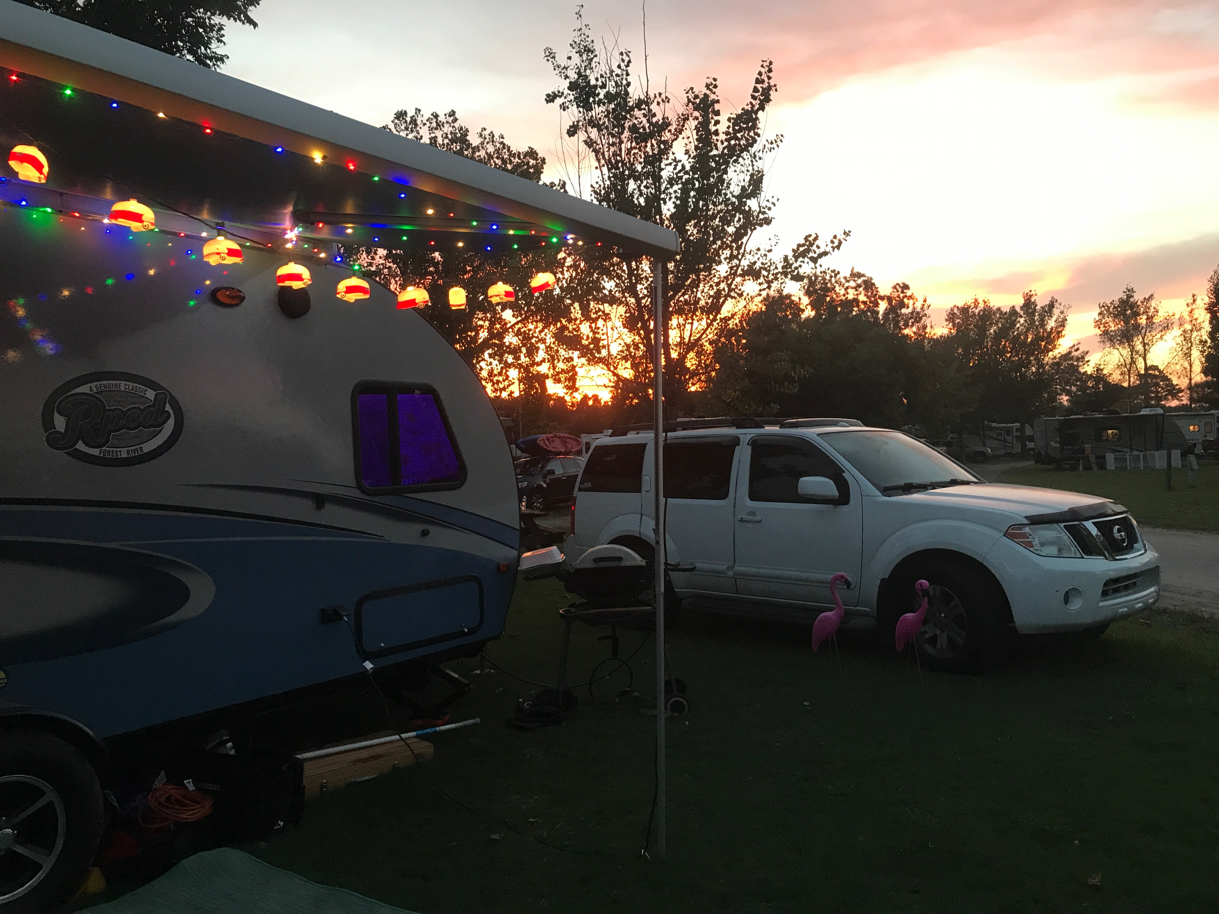 Twinkle lights included! (in South Carolina) -Actual travel trailer setup!