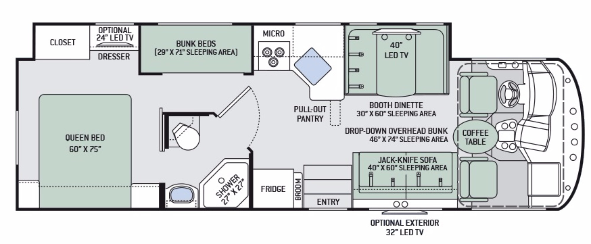 """•3-Burner Gas Cooktop/Oven with Bi-Fold Glass Cover •32"""" LED TV in Bedroom •Blu-Ray Player in Living Area •Bluetooth® Coach Radio System in Bedroom with Exterior Speakers •Bunk Beds w/Bunk Ladder •Ceiling Ducted Air Conditioning System •Dash Workstation with 110-volt & 12-volt Outlets •Denver Mattress® Queen Size Bed •Dream Dinette® Booth with Cup Holders •Exterior 32"""" LED TV •Leatherette Sofa Bed •Microwave Oven •Motorhome Mudroom™ Compartment •Power Drop Down Hide-Away Overhead Bunk with Bunk Ladder •Touchscreen AM/FM Dash Radio with Bluetooth® •Two (2) 15.5"""" LED TVs & DVD Player in Bunk Bed Area •Water Heater Bypass System  Sleeping Capacity 8 Seat Belt Position 6    . Thor Motor Coach A.C.E 2017"""