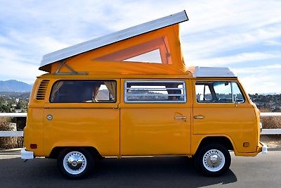 Sunny with pop top up. Volkswagon Camperbus 1977
