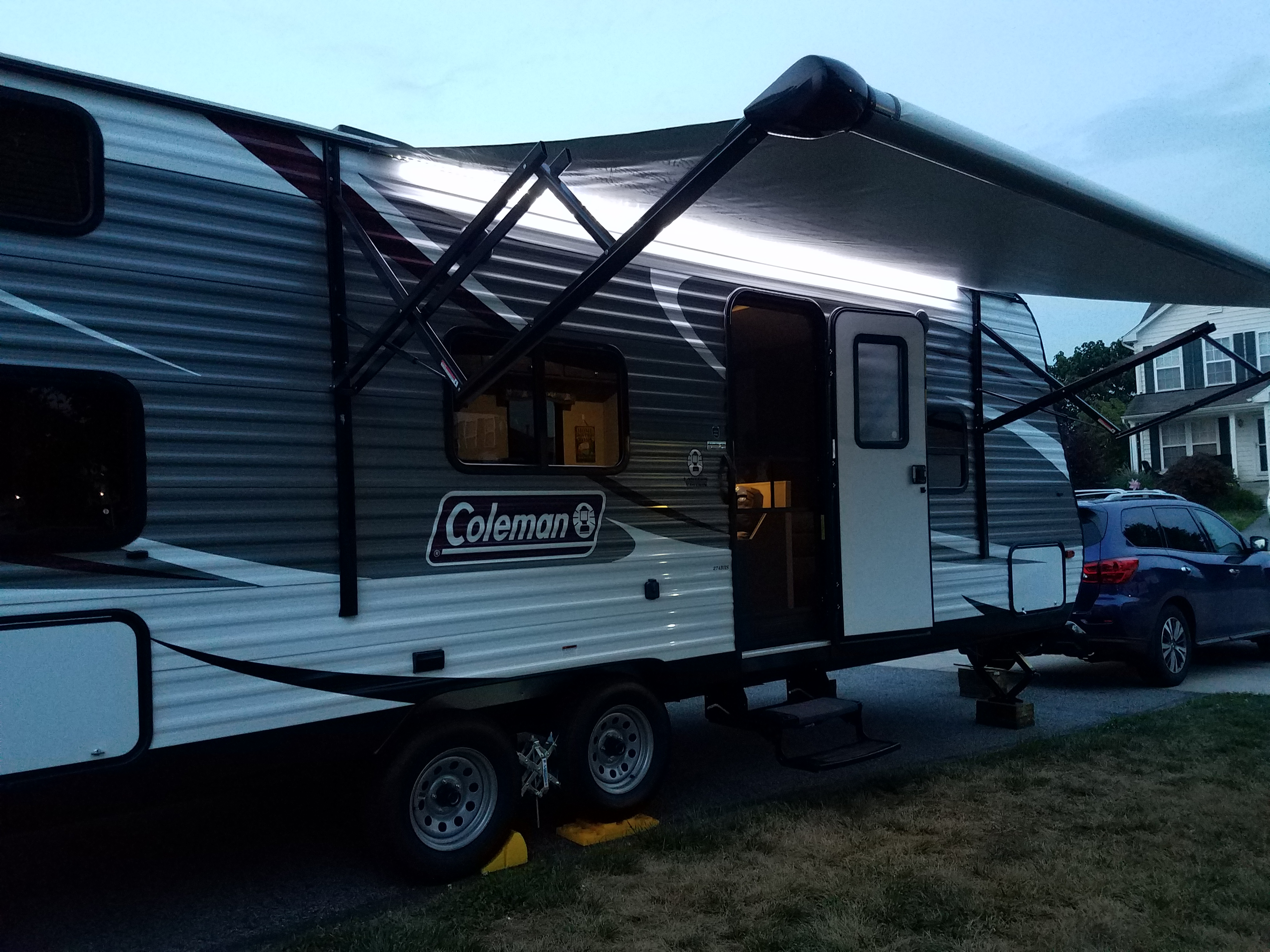 Motorized awning with LED lighting. Magic with the push of a button!. Dutchmen Coleman 2017