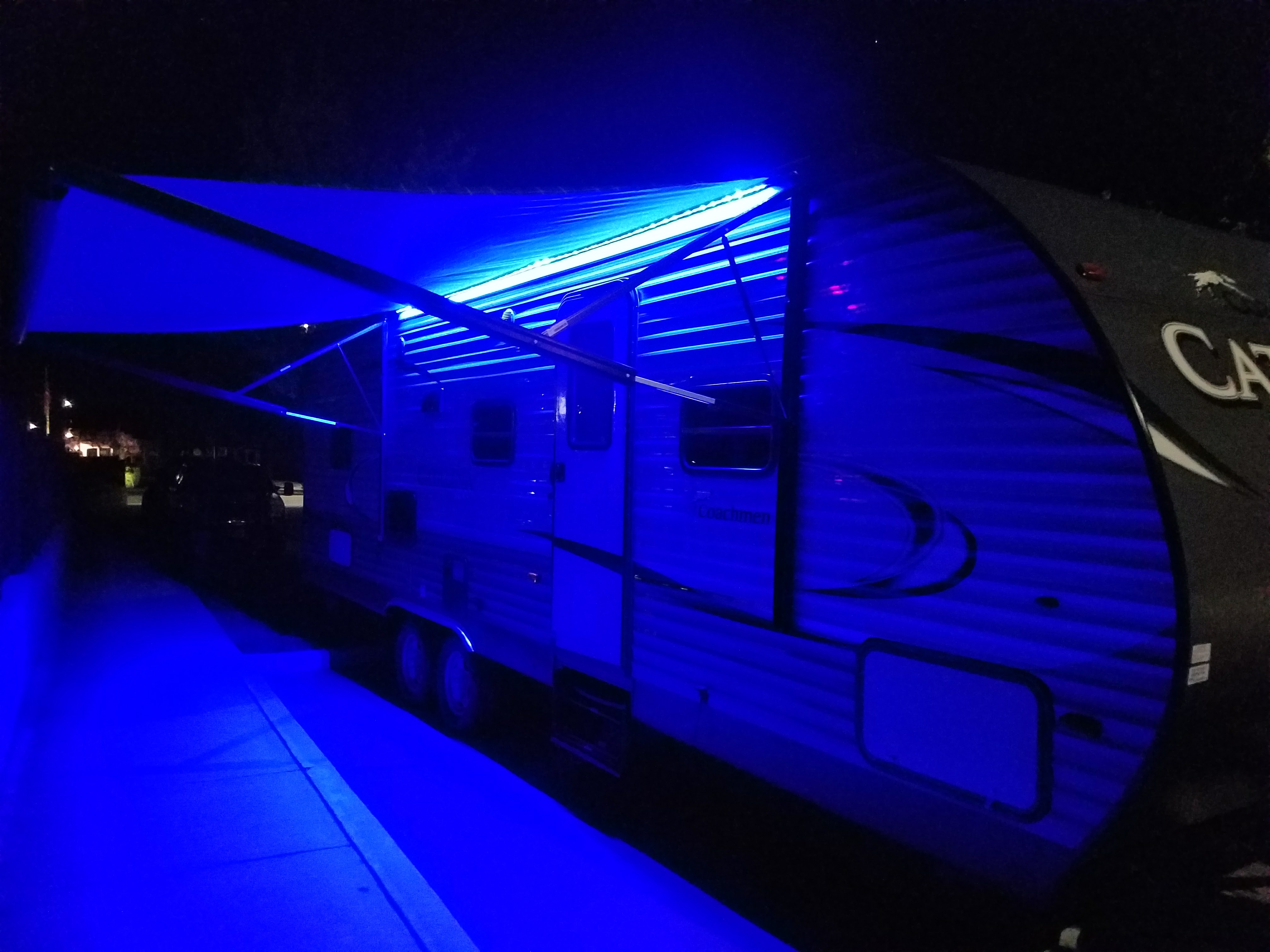 Really fun exterior LED lighting! Not too bright and you can still see everything!. Coachmen Catalina 2017