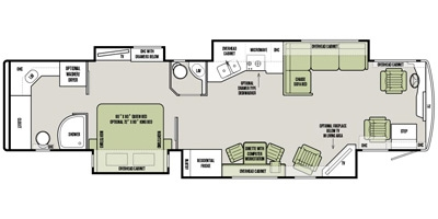 The Floor plan.  The L-Shaped couch has an airfoil/memory foam mattress.