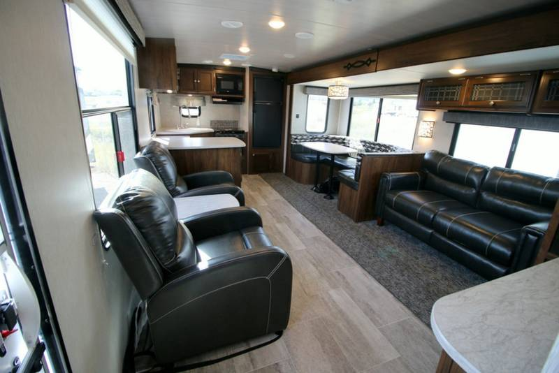 Spacious interior layout!  Two recliners, a pull-out couch, and dinette.. Heartland M 302 2017
