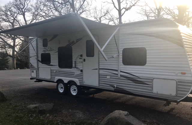 Right side w/ awning extended. Jayco Jay Flight 2013