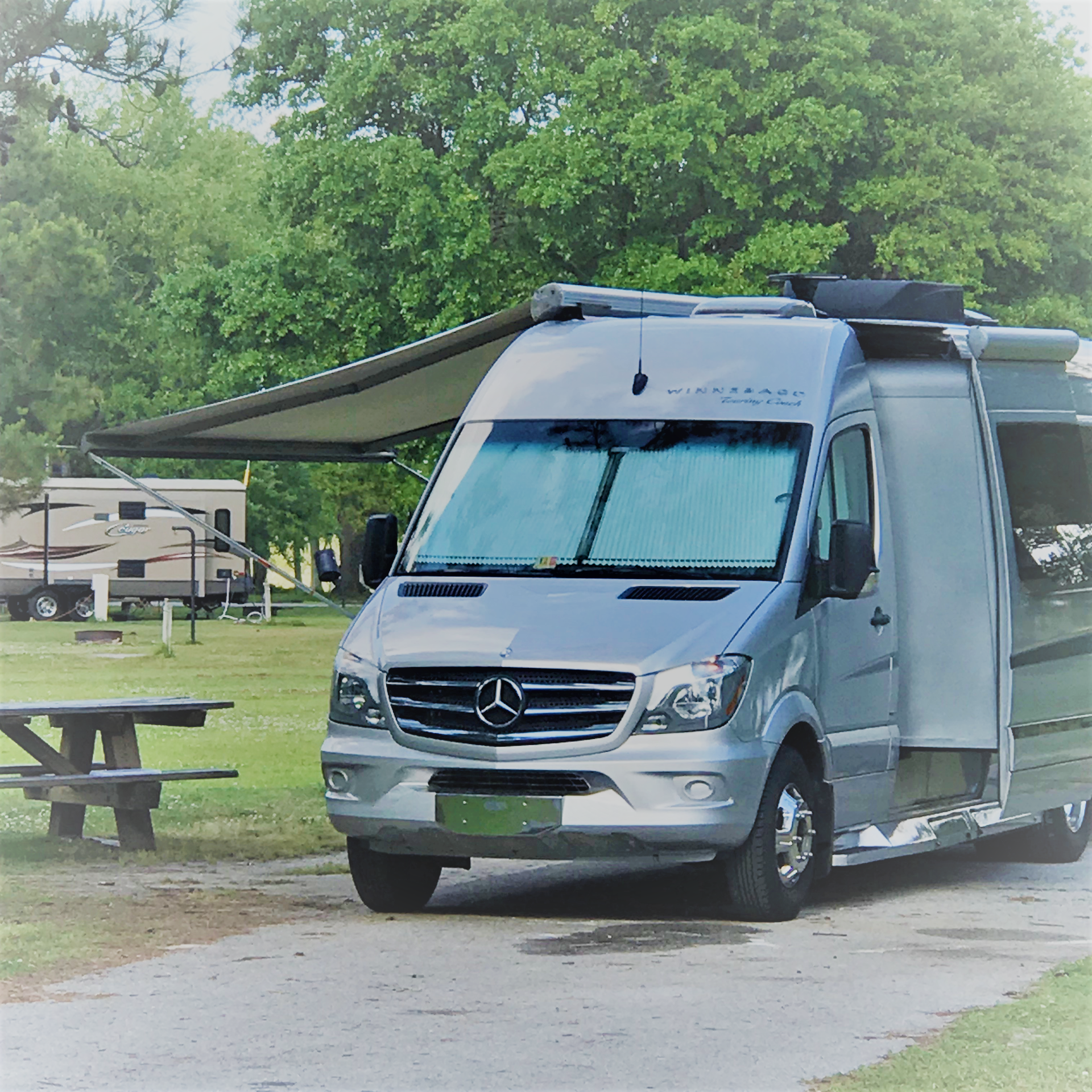 Awning with LED lights to sit under. Mercedes-Benz Winnebago Era C 2015